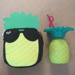 Victoria Secret PINK pineapple cooler & bottle set